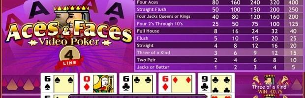 tableau des combinaisons payantes au vidéo poker aces and faces