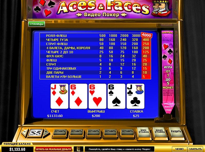 écran de jeu de vidéo poker Aces And Faces