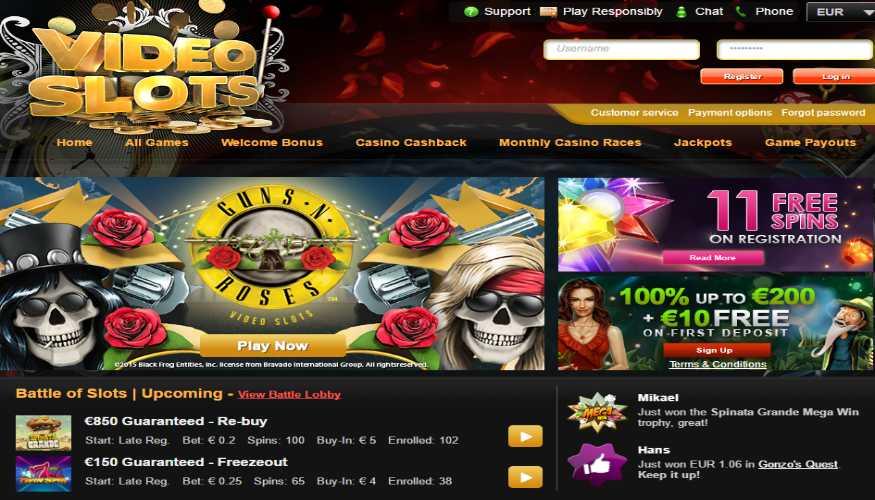 page d'accueil du casino